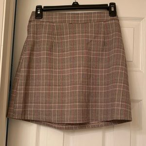 Brown and pink plaid a line mini skirt (NEW)